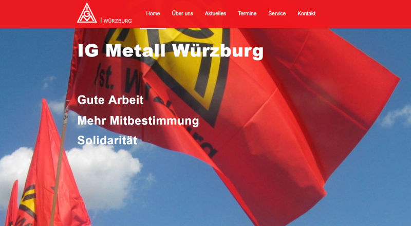 Screenshot Website IG Metall Würzburg